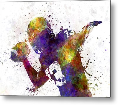 American Football Player Quarterback Passing Portrait Silhouette Metal Print by Pablo Romero
