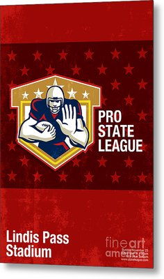 American Football Pro State League Poster Art Metal Print by Aloysius Patrimonio