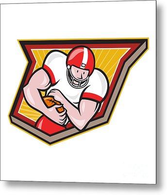 American Football Running Back Run Shield Cartoon Metal Print by Aloysius Patrimonio