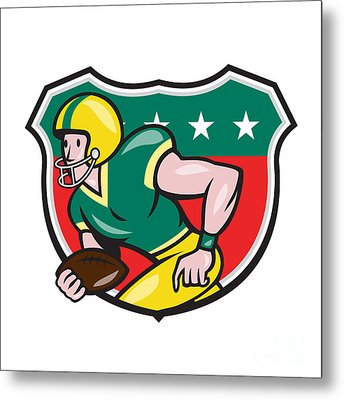 American Football Wide Receiver Running Ball Shield Metal Print by Aloysius Patrimonio