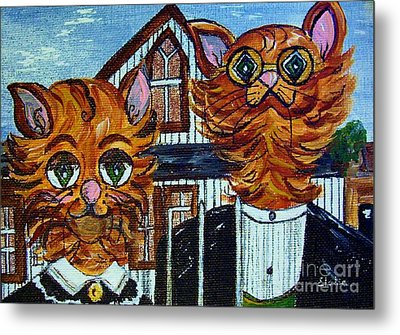 American Gothic Cats - A Parody Metal Print by Eloise Schneider