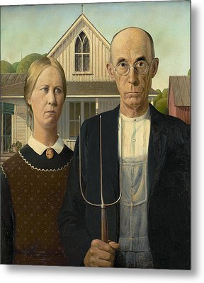 American Gothic Metal Print by Grant Wood