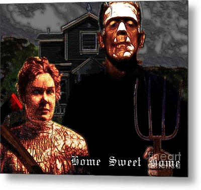 American Gothic Resurrection Home Sweet Home 20130715 Metal Print by Wingsdomain Art and Photography