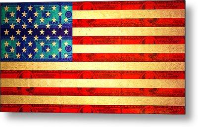 American Money Flag Metal Print