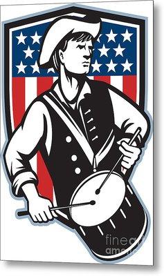 American Patriot Drummer With Flag Metal Print by Aloysius Patrimonio