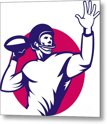 American Quarterback Football Player Pass Metal Print by Aloysius Patrimonio