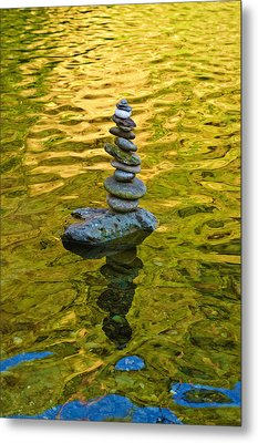 American River Rock Art Metal Print by Sherri Meyer