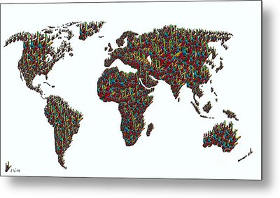 American Sign Language ... I Love You World Map  Metal Print by Eloise Schneider