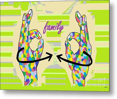 American Sign Language Family                                                    Metal Print