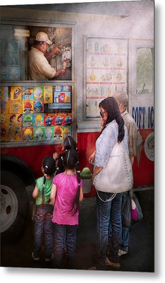 Americana - Vendor - Serving Chocolate Ice Cream Metal Print by Mike Savad