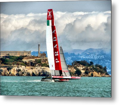 America's Cup And Alcatraz Ll Metal Print by Michelle Calkins