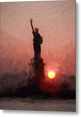 Sunset On Liberty Metal Print by Ike Krieger