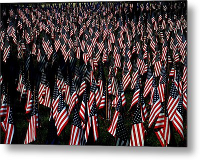 Metal Print featuring the photograph Field Of Flags - Sturbridge Mass. by Jacqueline M Lewis