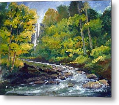Amicalola Falls Painting Metal Print by Sally Simon