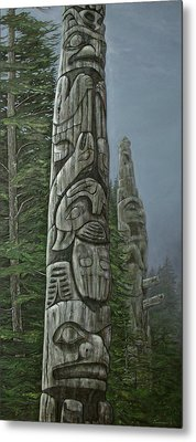 Amid The Mist - Totems Metal Print by Elaine Booth-Kallweit