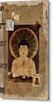 Amida Buddha Postcard Collage Metal Print by Carol Leigh