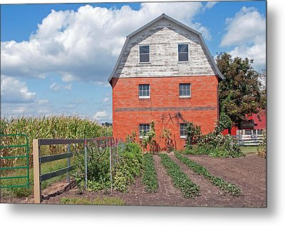 Amish Barn And Garden Metal Print by David Arment