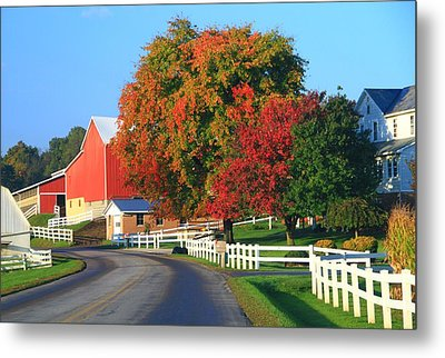 Amish Barn In Autumn Metal Print by Dan Sproul