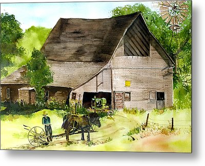 Metal Print featuring the painting Amish Barn by Susan Crossman Buscho