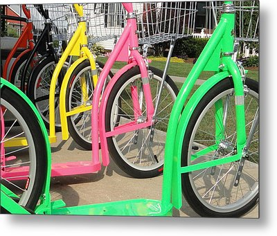 Metal Print featuring the photograph Amish Bikes by Mary Beth Landis