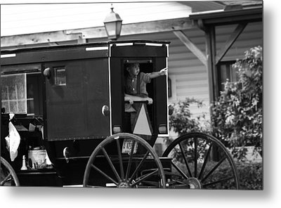 Amish Boy Waving In Horse And Buggy Metal Print by Dan Sproul