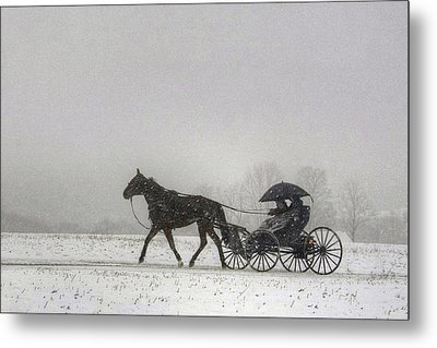 Amish Buggy Ride In The Snow Metal Print