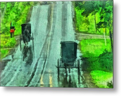 Amish Buggy Traffic Metal Print by Dan Sproul