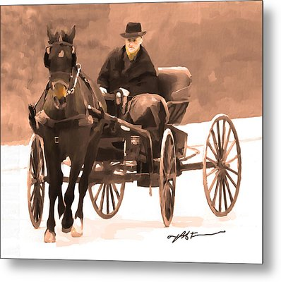 Metal Print featuring the digital art Amish Carriage by Bob Salo