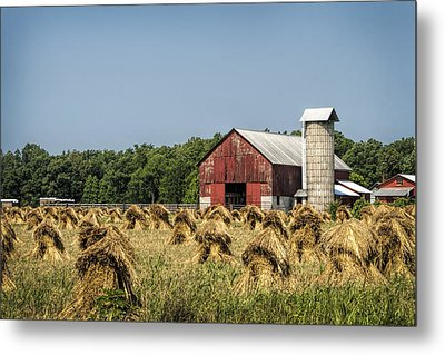Amish Country Wheat Stacks And Barn Metal Print by Kathy Clark