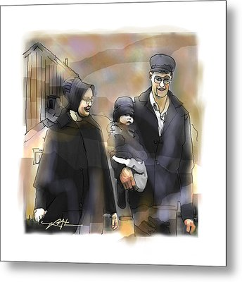 Metal Print featuring the drawing Amish Family by Bob Salo