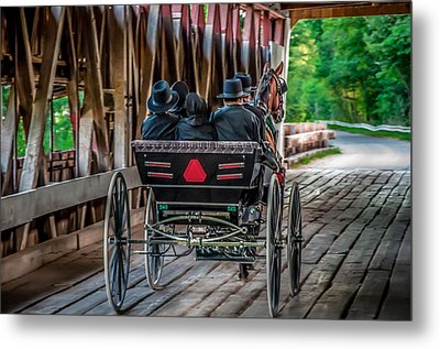 Amish Family On Covered Bridge Metal Print by Gene Sherrill