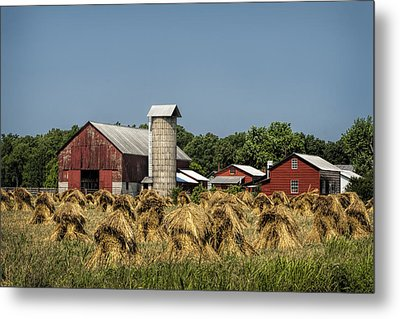 Amish Farm Wheat Stack Harvest Metal Print by Kathy Clark