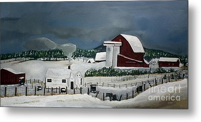 Amish Farm - Winter - Michigan Metal Print