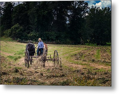 Amish Farming Metal Print by Tom Mc Nemar