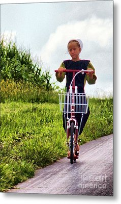 Metal Print featuring the photograph Amish Girl Scooting In Lancaster Pennsylvania Usa by Polly Peacock