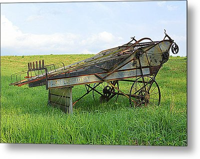 Amish Harvester Metal Print by Joel E Blyler
