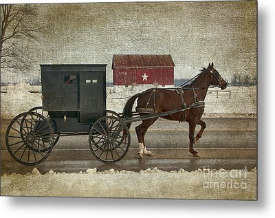 Amish Horse And Buggy And The Star Barn Metal Print