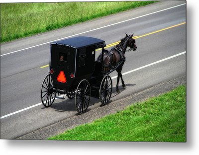Amish Horse And Buggy In Ohio Metal Print by Dan Sproul