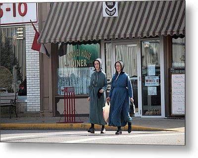 Amish Ladies Go Shopping Metal Print