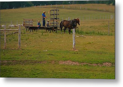 Amish Man And Two Sons On The Farm Metal Print by Dan Sproul