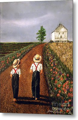 Amish Road Metal Print