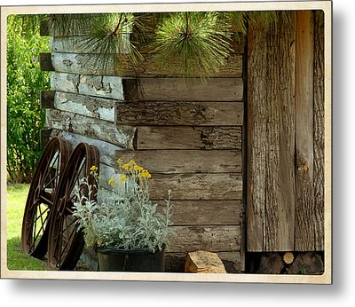 Amish Wood Shed Metal Print by Lena Wilhite