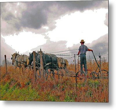 Amishman Driving Plow Metal Print by Brian Graybill