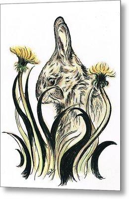 Rabbit- Amongst The Dandelions Metal Print