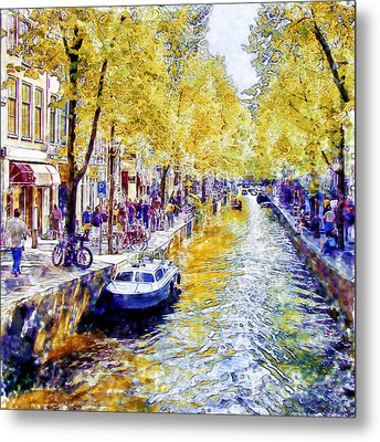 Amsterdam Canal Watercolor Metal Print