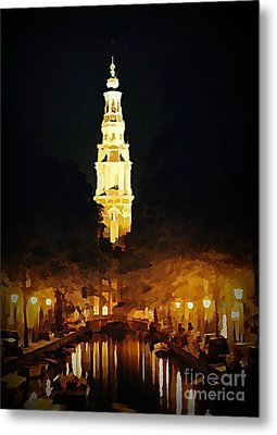 Amsterdam Church And Canal Metal Print by John Malone