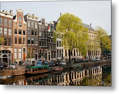 Amsterdam Houses Along The Singel Canal Metal Print by Artur Bogacki