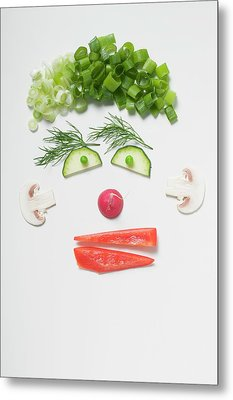 Amusing Face Made From Vegetables, Dill And Mushrooms Metal Print