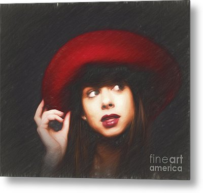 Amy And The Red Hat  ... Metal Print