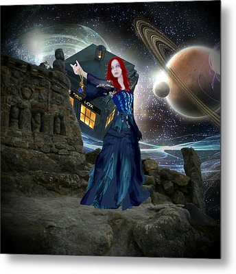 Amy And The Tardis Metal Print by Digital Art Cafe